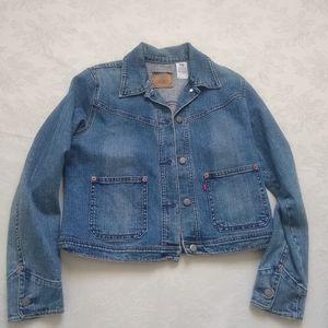 Levi's denim boxy utility jacket patch pockets